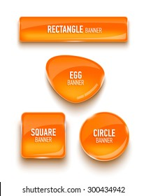 Set of glass banners. Vector illustration.