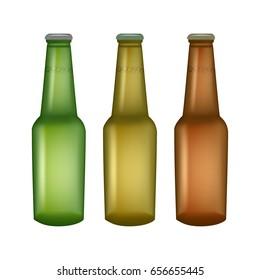 Set of glass beer bottles isolated. Vector bottles