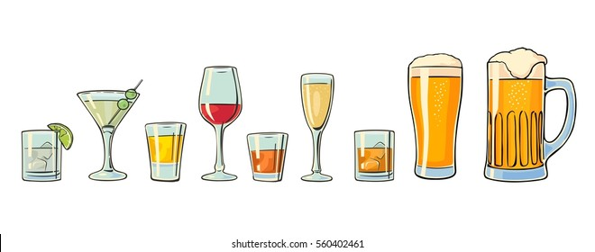 Set glass beer, whiskey, wine, gin, rum, tequila, cognac, champagne, cocktail. Vector flat illustration isolated on white background