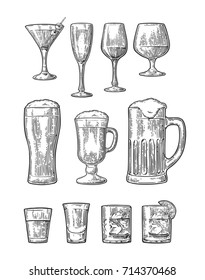 Set glass beer, whiskey, wine, gin, rum, tequila, cognac, champagne, cocktail. Vector engraved black vintage illustration isolated on white background