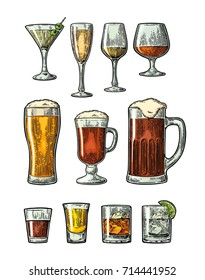 Set glass beer, whiskey, wine, gin, rum, tequila, cognac, champagne, cocktail. Vector engraved color  vintage illustration isolated on white background