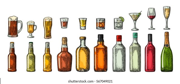 Set glass and bottle beer, whiskey, wine, gin, rum, tequila, cognac, champagne, cocktail, grog. Vector engraved color vintage illustration isolated on white background.