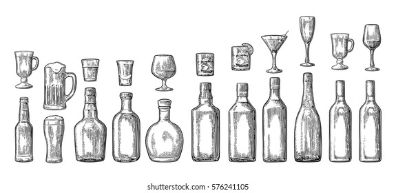 Set glass and bottle beer, whiskey, wine, gin, rum, tequila, cognac, champagne, cocktail, grog. Vector engraved black vintage illustration isolated on white background