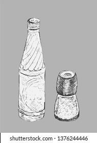 Set of glass bottle and salt mill, shaker, grinder. Hand drawn style. Vector Sketch. Salt shaker or Spice container. Soda beverage. For menu in restaurant and cafe.