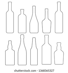 set of glass bottles with alcoholic beverages, vector illustration. collection of linear icons.