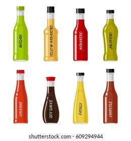 Set of glass bottles full of hot sauces. Colorful spicy seasonings in shaped bottles flat vector illustrations isolated on white. National cuisine ingredients collection for icons, logos and web