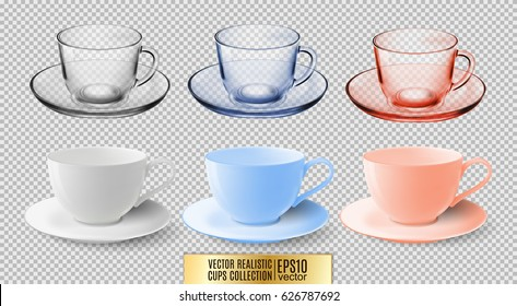 A set of glass and ceramic tea cups. Transparent multicolored glass mugs. High detailed vector illustration of colorful cups isolated on transparent background