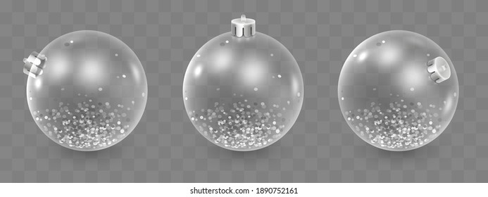 Set of glass Christmas toys, decorations, balls with silver confetti isolated on transparent background. Holiday illustration for postcard, banner, cards, decor, design, arts, advertising.