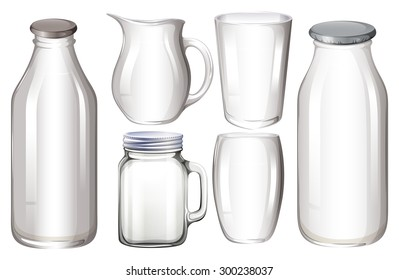 Set of glass containers with no label