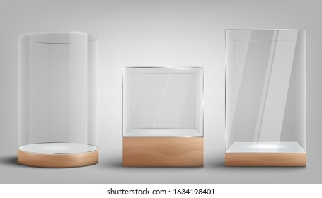 Set of glass exhibition or gallery showcases in various shapes, realistic vector mockup illustration isolated on white background. Transparent boutique show box template.
