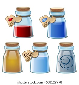 Set of glass flasks with elixir or essential oil, closed cork with label and tag, isolated on white background. Vector cartoon close-up illustration.
