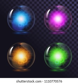 A set of glass glowing magic balls