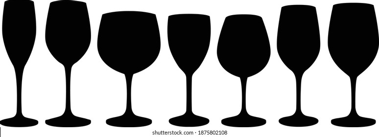 Set of glass goblets for wine and drinks. Isolated on white background. Vector illustration.