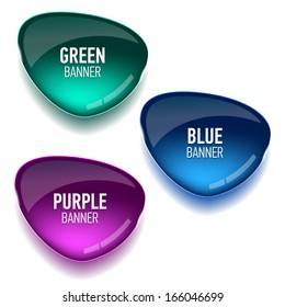 Set of glass green, blue and purple banners for your design. Vector illustration.