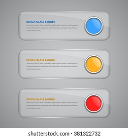 Set glass horizontal banners with red, blue and orange buttons. Vector illustration.