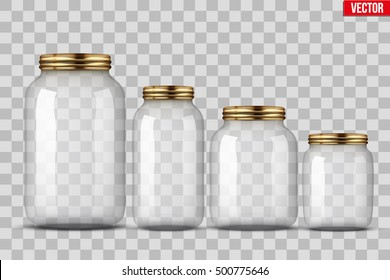 Set of Glass Jars for canning and preserving. Vector Illustration isolated on transparent background.