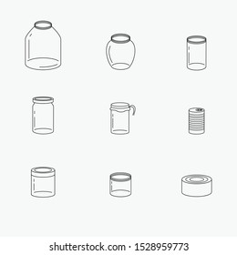 Set of glass jars and cans. Empty transparent cans.