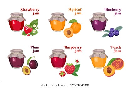 Set of glass jars of jam isolated on white background. Strawberry, apricot, blueberry, raspberry, plum, peach. Vector illustration of homemade fruit and berry fruit marmalade in cartoon flat style.