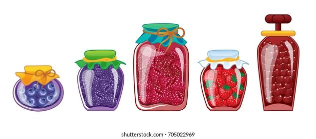 Set of glass jars with preserved different berry jam. Isolated on a white background . Vector Illustration.