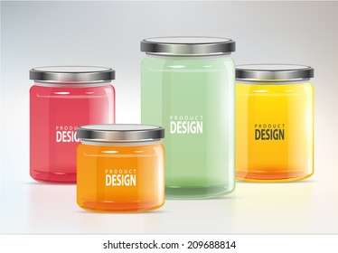 set glass jars vector illustration design
