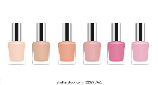 Set of glass nail polish tubes. Vector illustration