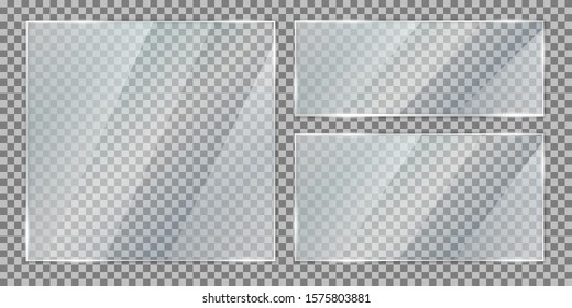Set glass plate on transparent background, clear glass showcase, realistic transparent window mockup in rectangle frame, glass texture with glares and light - vector