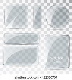 A set of glass plates. Flat glass with glare. Glass frame isolated on a transparent background. Vector illustration