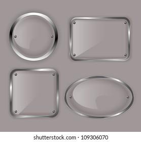 Set of glass plates in metal frames illustration