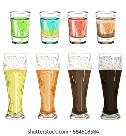 set glass shot with color alcoholic liqueurs and drinks vector illustration. Set of beer glasses with different grades of beer on a white background isolated