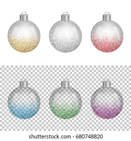 Set of glass transparent Christmas balls or baubles with colorful glitter confetti.