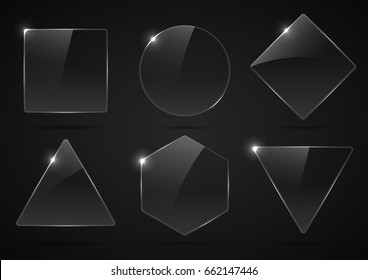 Set of glass, transparent geometric shapes.