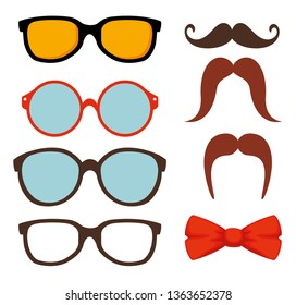 set glasses accessories with mustache and tie bow