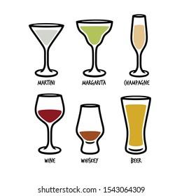 Set of glasses for beverages. Outline style vector illustration.