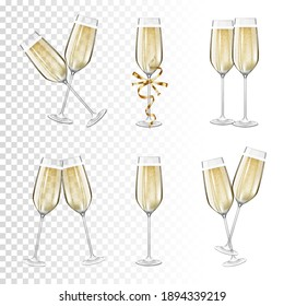 Set of glasses of champagne, isolated.