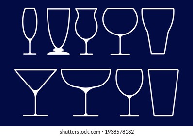 set of glasses of coctails, alcohol drink, champagne, glass line vector icon
