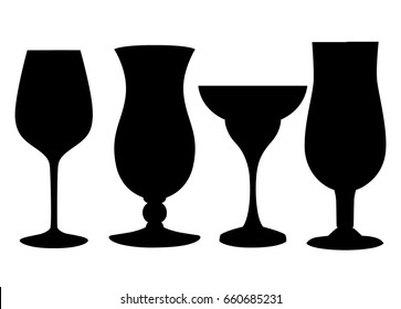 Set of glasses goblets, vector icon empty inside Glass of a different form for cocktails of juice.