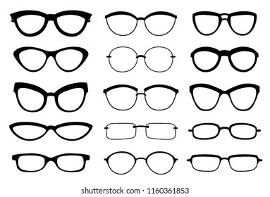 A set of glasses isolated. Vector glasses model icons. Sunglasses, glasses, isolated on white background. Silhouettes. Various shapes - stock illustration