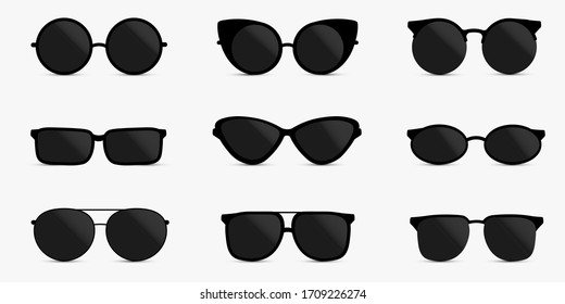 A set of glasses isolated. Vector glasses model icons. Sunglasses, glasses, isolated on white background.