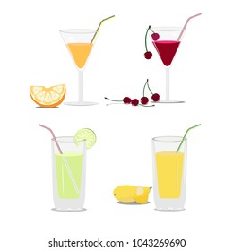 Set of glasses with juice and fruits. Vector illustration