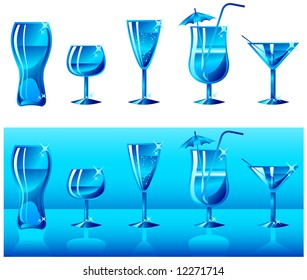 Set of glasses for juice, wine, cocktail, martini, cognac in dark blue