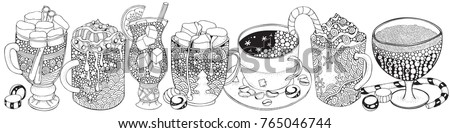 set of glasses and mugs with drinks adult coloring book pages christmas decoration
