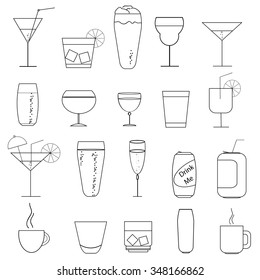 Set of glasses and mugs in sketch style