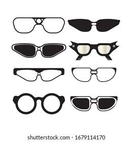 Set of Glasses symbol vector icon design template