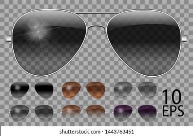 Set glasses.Police drops aviator shape.transparent different color black  brown purple.sunglasses.unisex  women men