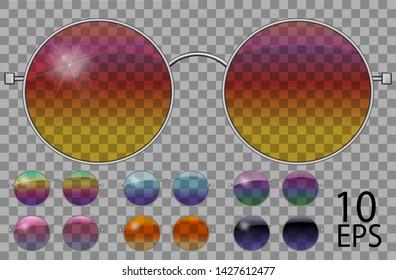 Set glasses.teashades round shape.transparent different color .rainbow  chameleon  pink blue  purple yellow  red  green  orange  black.sunglasses.3d graphics.unisex  women men.