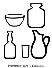 Set of glassware line icon. Flat vector illustration isolated on white background.