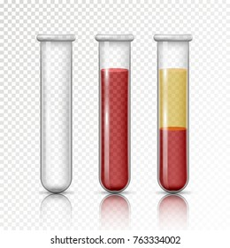 Set of glassware tube empty, filled blood and vector illustration of the blood in vitro, plasma and layers red blood cells. Chemical glass in realistic style. Vector illustration