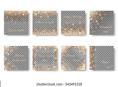 Set glitter on a transparent background for design of greeting cards