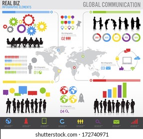 Set of Global Communication Business Vector Infographic
