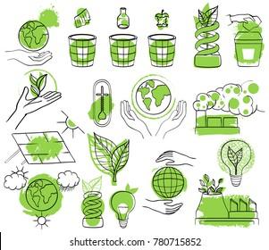Set of global warming icons